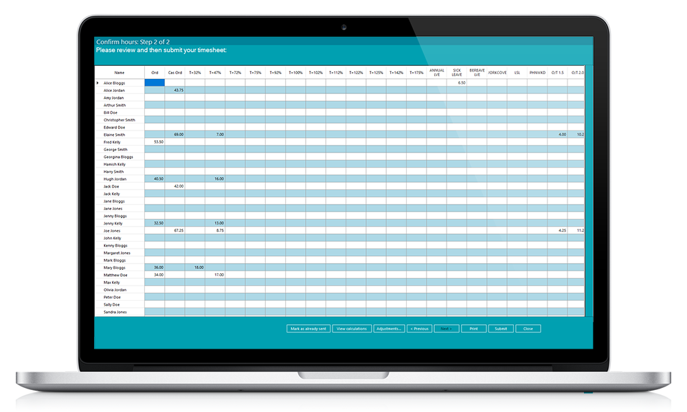 Wageloch Timesheet Display on Laptop allowing efficient time tracking services